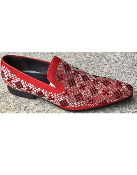 Men's Red Crystal Geometric Pattern Pointed Toe - Red Men's Prom Shoe