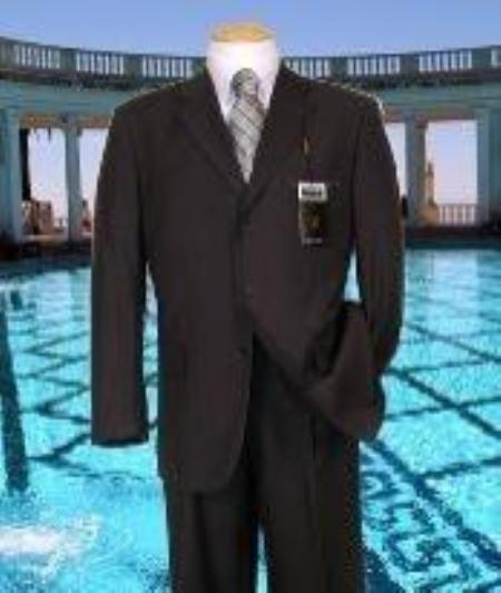 SKU#AK455 Charcoal Solid Suit Super 150s Hand Made With No Pleated Pants $169