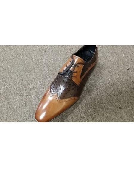 Mens Tan ~ Brown Two Tone Unique Zota Mens Dress Shoe Lace Up Cognac Rust Copper Color