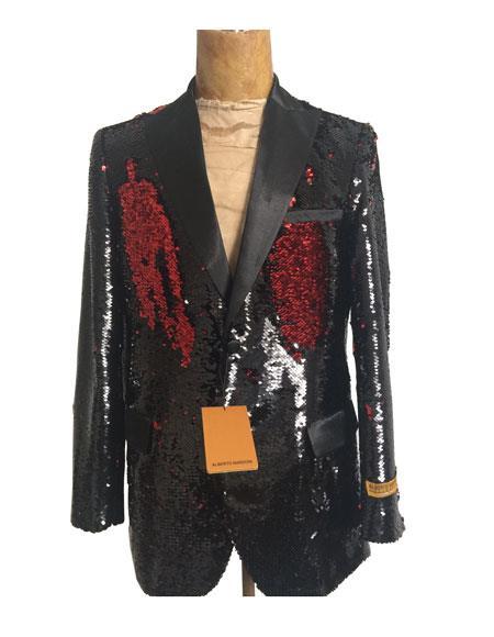 Men's Peak Lapel One Button Black Suit