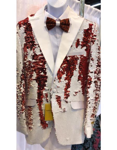 White and Red Sequin Cheap Priced Blazer Jacket For Men Sport Coat Tuxedo Dinner Jacket - Red Tuxedo