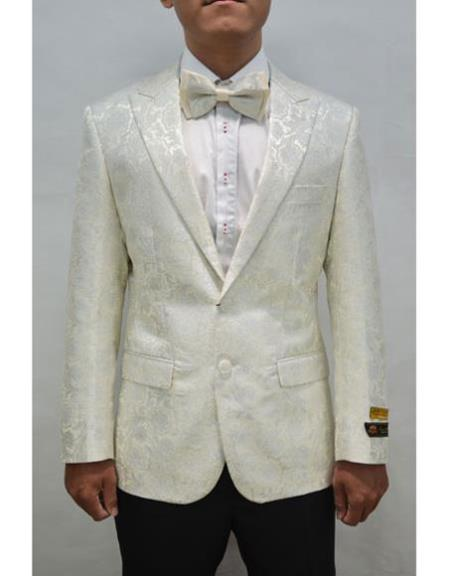 White And Silver Mix With ivory Tuxedo Blazer With Matching Bow Tie