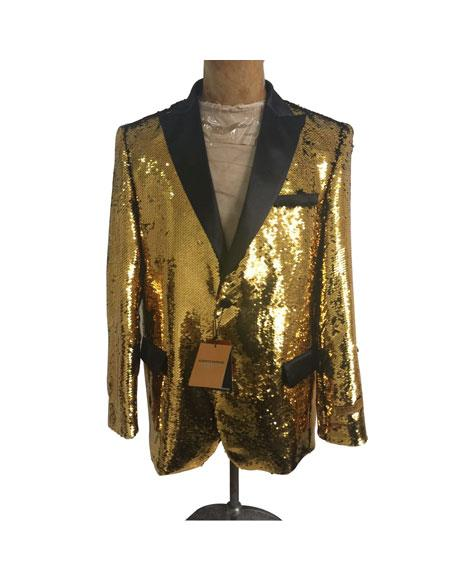 Men's One Button  Gold Sequin Blazer - Sequin Tuxedo - Dinner Jacket