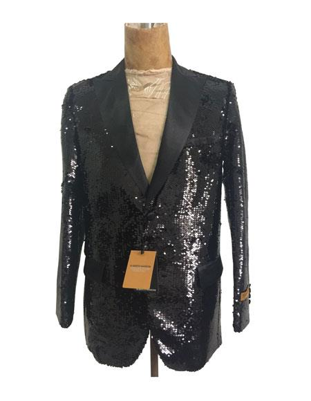 Men's Peak Lapel  One Chest Pocket Black Sequin Blazer - Sequin Tuxedo - Dinner Jacket