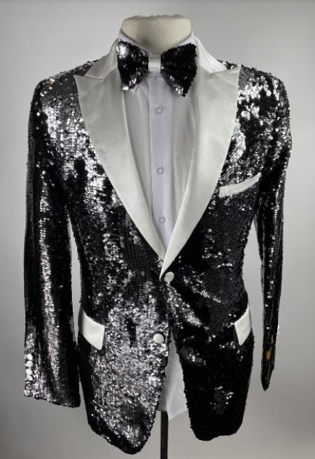 Men's Flap Front Pockets Peak Lapel One Button Black Sequin Blazer - Sequin Tuxedo - Dinner Jacket