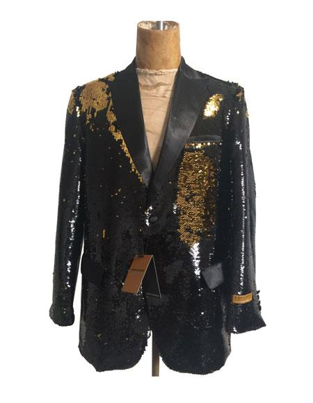Men's Black  Flap Front Pockets One Button Sequin Blazer - Sequin Tuxedo - Dinner Jacket