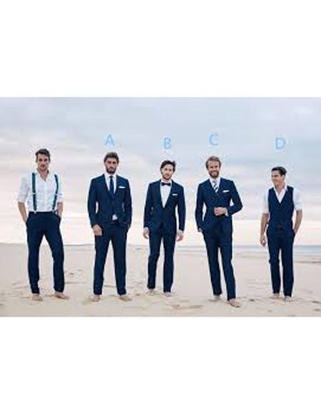 Mens Navy Blue Two Button Notch Lapel Beach Wedding Attire Suit