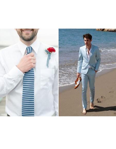 Mens Beach Wedding Attire Suit Menswear Light Blue $199