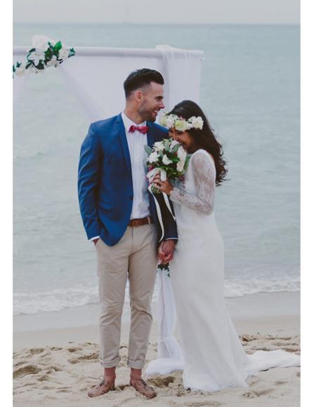 Mens Blue Notch Lapel Beach Wedding Attire Suit