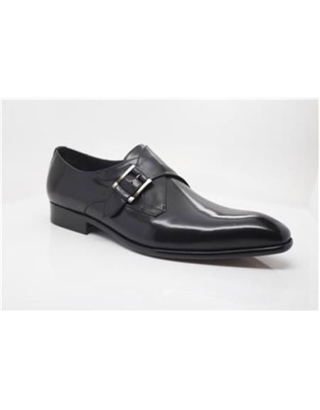 Men's Black Wrapped Silver Carrucci Black Dress Shoe