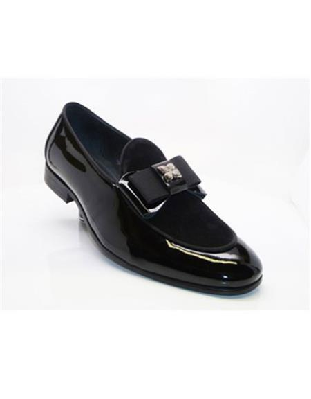 Men's Buckle Closure Slip-On Black Carrucci Black Dress Shoe