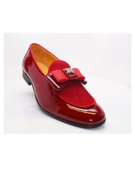 Men's Red Slip On Buckle Closure Carrucci Shoe Slip on - Stylish Dress Loafer Red And Tint Of Black - Red Men's Prom Shoe