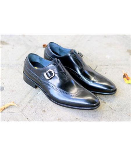 Mens mens two tone wingtip dress shoes Slip On Black Carrucci Shoe
