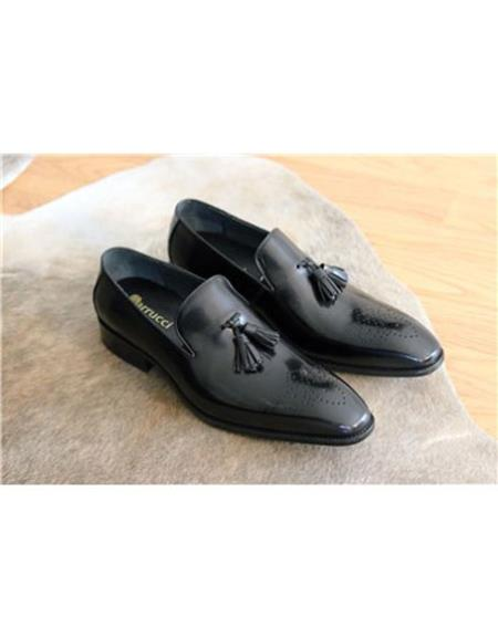 Mens Stylish Dress Loafer Slip On Black Carrucci Black Dress Shoe
