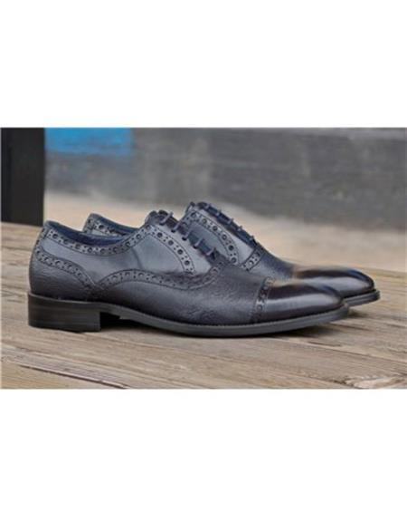 Mens Navy Lace Up Deerskin ~ Calfskin Carrucci Shoe