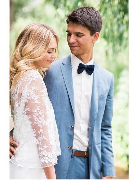 Mens Blue Single Breasted Notch Lapel Beach Wedding Attire Suit