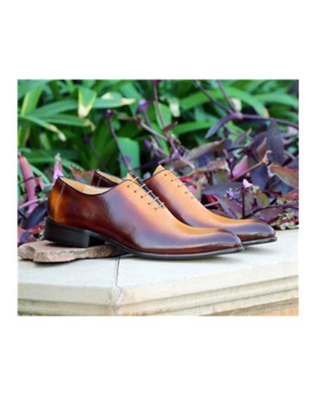 Mens Cognac Lace Up Carrucci Shoe