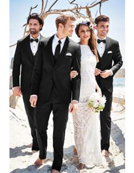 Mens Beach Wedding Attire Suit Menswear Black $199