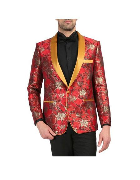 Men's Red and Gold Floral Shawl Collar Wedding Tuxedo - Red Tuxedo