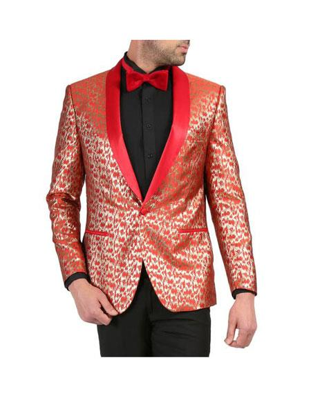 Mens Red and Gold Floral Shawl Collar Tuxedo Dinner Jacket Cheap Priced Blazer Jacket For Men Perfect for Prom & Wedding - Red Tuxedo