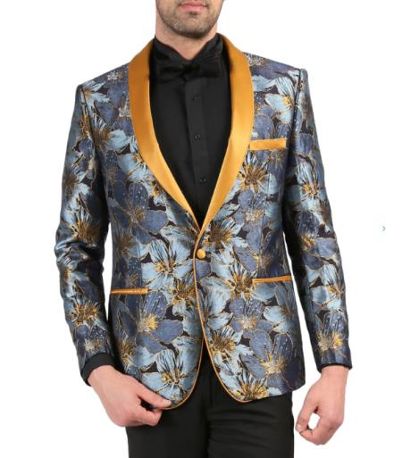 Men's Cheap Priced Designer Fashion Dress Casual Blazer On Sale Shawl Lapel Blue Tuxedo Blazer