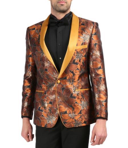 Men's Cheap Priced Designer Fashion Dress Casual Blazer On Sale Shawl Lapel Rust Tuxedo Blazer