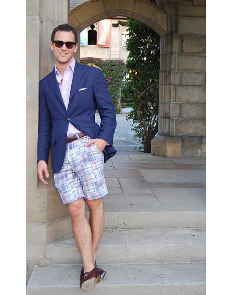 Mens Navy Blue Flap Two Pockets Beach Wedding Attire Suit