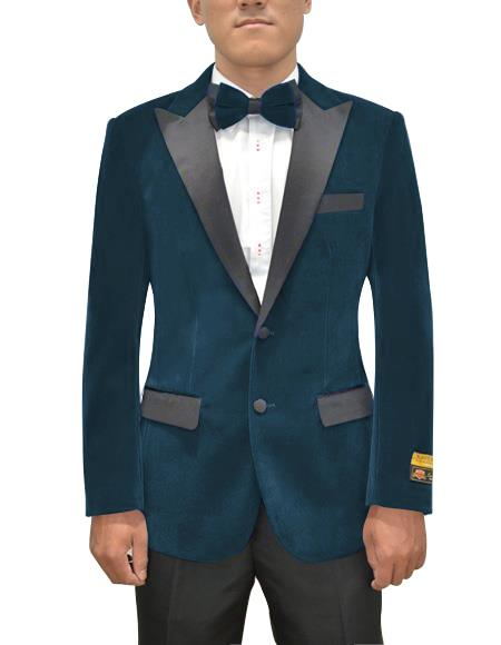 Men's Two Button Peak Lapel Prussian  Suit