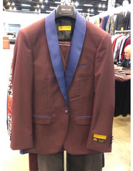 Mens Burgundy One Button Purple Shawl Lapel Cuff Link Suit