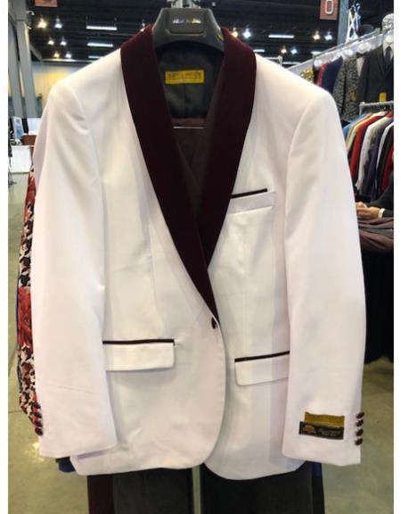Men's White One Button Flap Front Pockets Cuff Link Suit