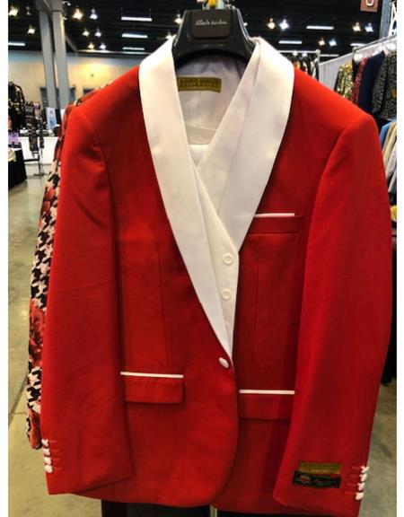 Mens Red One Button White Shawl Lapel Cuff Link Suit