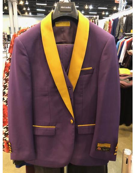 Purple and Gold Tuxedo Vested 3 Piece Suit