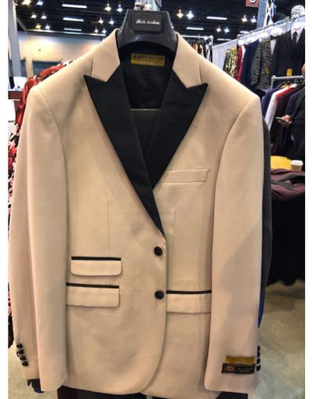 Men's Tan Two Button Double Breasted Black Peak Lapel Suit