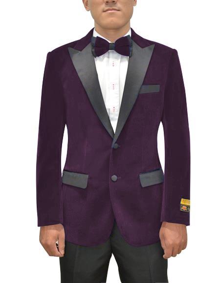 Men's  Peak Lapel Eggplant Two Button Men's Fancy Prom Outfit ~ Wedding Blaze