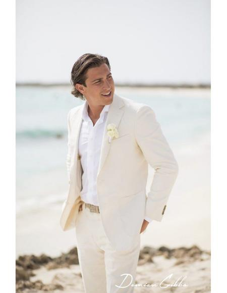 Mens Beach Wedding Attire Suit Menswear Ivory $199