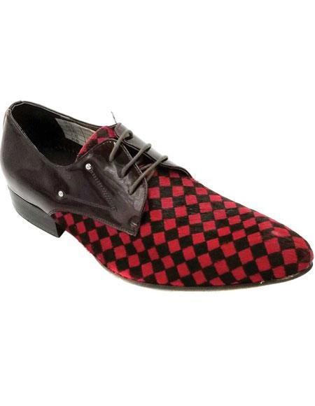 Mens Lace Up Red Unique Zota Mens Dress Two Toned Dress Shoe - Red Mens Prom Shoe