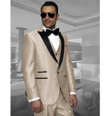Men's Beige Color Cuff Link One Button Three Piece Tuxedo Tan Tuxedo - Beige Tuxedo
