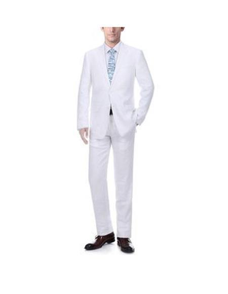 Mens White Notch Lapel Solid Pattern Classic Fit Linen Suit