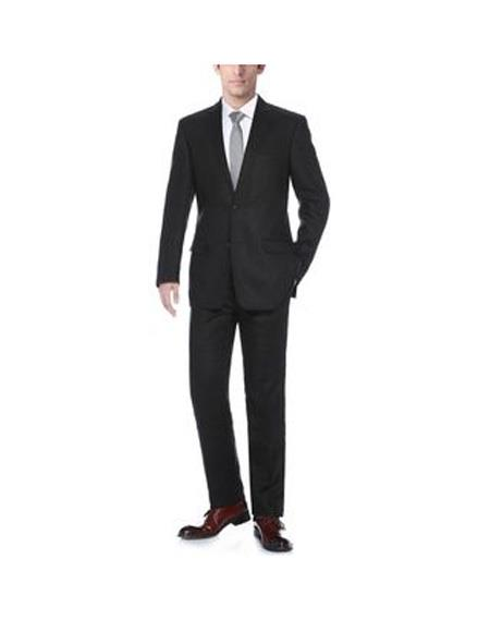 Mens Notch Lapel Solid Pattern Black Single Breasted  Classic Fit Linen Suit