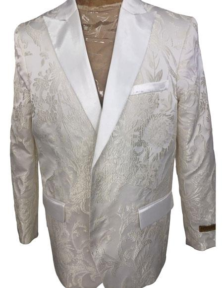 Mens Double Breasted  White ~ Silver Blazer