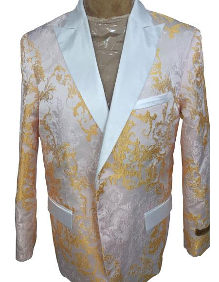 Men's White ~ Gold Floral Pattern Double Breasted Peak Lapel Blazer