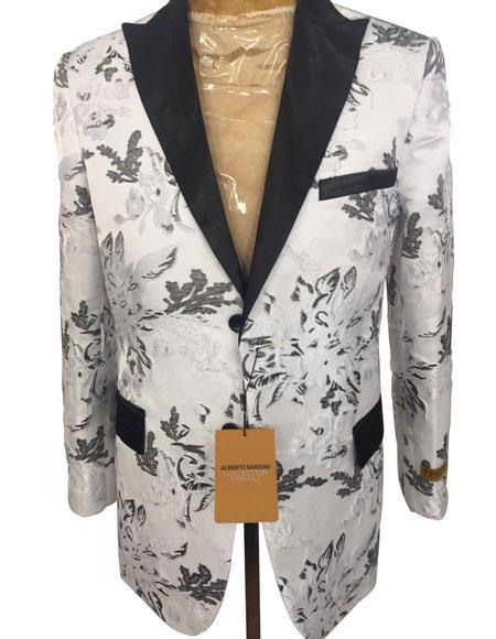 Men's White ~ Black Cheap Priced Designer Fashion Dress Casual Blazer On Sale Blazer