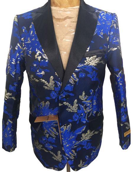 Men's Navy Blue Floral Pattern Blazer