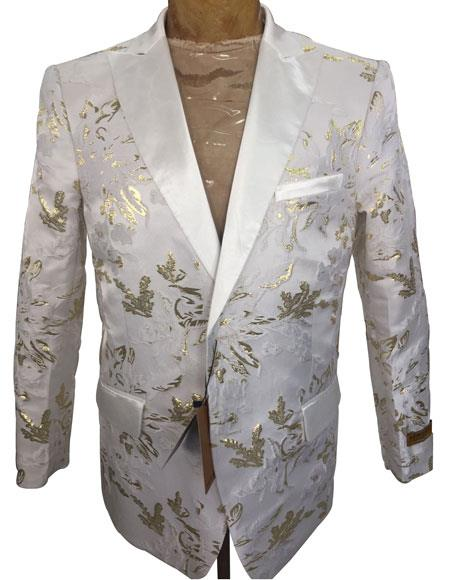 Men's White ~ Gold Floral Pattern Blazer