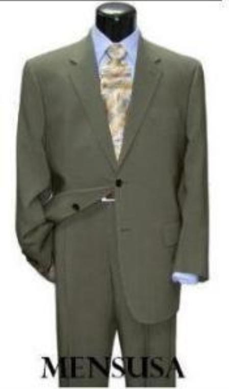 "SKU#CLK500 Mens greenish color with some hint of Gray ""sage"" Light Green Classic Two Button Style $139"