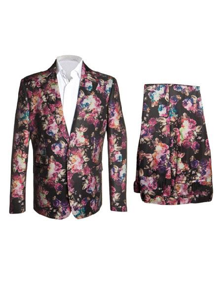 Mens Rossiman Rossi Man Brand Mens Black ~  Pink  ~ Red ~ Lavender Floral Flower Fashion Suit