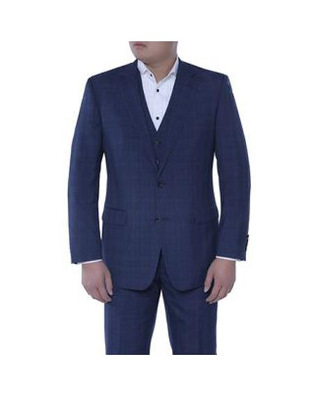 Verno Men's Dark Navy and Black Plaid Pattern Classic Fit  3-piece Suit