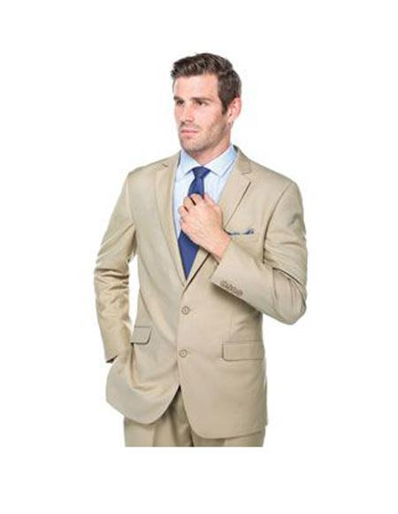 Verno Crespo Men's  Solid Pattern Classic Fit Polyester Suit In Beige