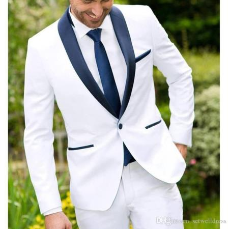 Men's White and Navy Blue Tuxedo Jacket & Pants & Vest $199