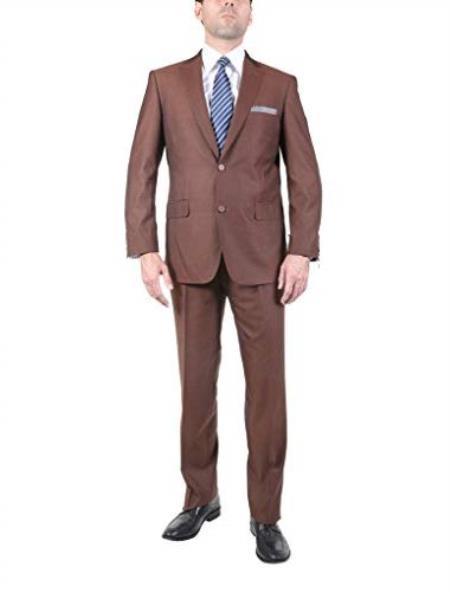 Brick ~ Cognac Color 2 Button Men's Suit With Texture Fabric Flat Front